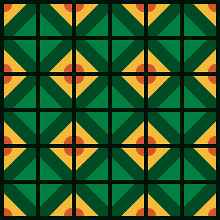 Abstract Vector pattern. Stylish fabric print with geometric grid. Creative textile background for batik or cloth. Design Inspiration green and yellow color  イラスト・ベクター素材
