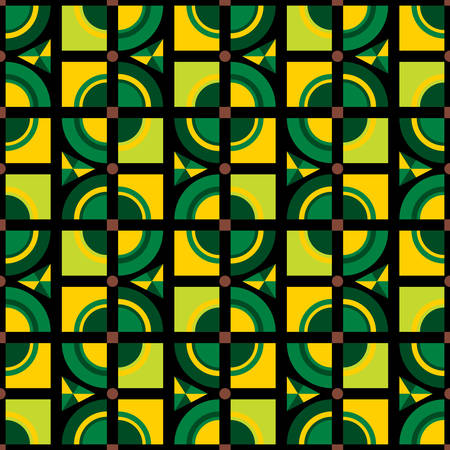 Modern Vector pattern. Stylish fabric print with geometric grid of kaleidoscope. Creative textile background for batik or cloth. Design Inspiration green color  イラスト・ベクター素材