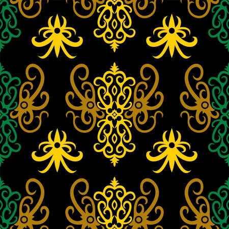 seamless pattern of borneo batik style. traditional Indonesian fabric motif. vector design inspiration. Creative textile background for fashion or cloth. culture motif of dayak 向量圖像