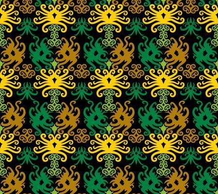 seamless pattern of borneo batik style. traditional Indonesian fabric motif. vector design inspiration. Creative textile background for fashion or cloth. culture motif of dayak Vetores