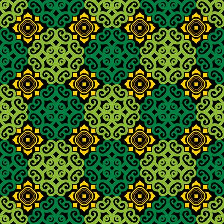 seamless pattern of borneo batik style. traditional Indonesian fabric motif. vector design inspiration. Creative textile pattern for fashion or cloth. culture motif of dayak Vetores
