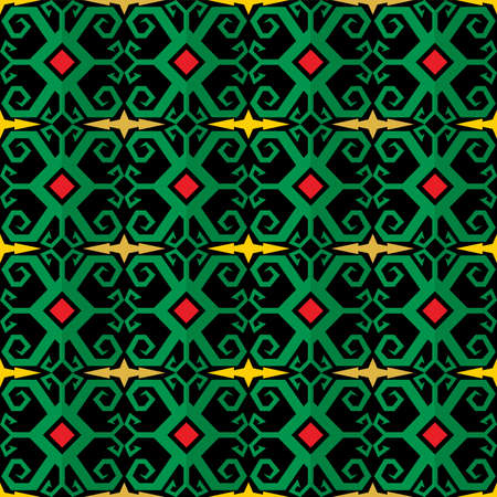 Seamless pattern with geometric ornate ethnic style. Vector Floral Illustration in asian textile. vector design inspiration. creative fabric background