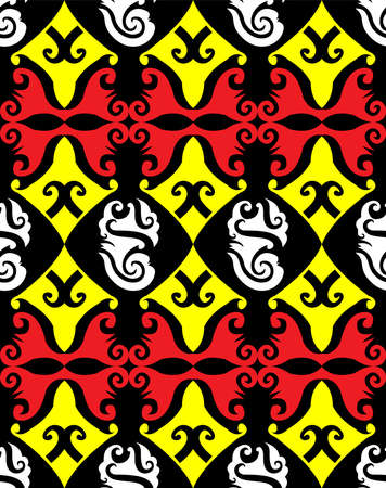 seamless pattern of dayak ethnic pattern. Traditional Indonesian fabric motif. Borneo style. vector design inspiration. Creative textile for fashion or cloth Иллюстрация
