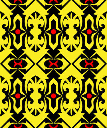 seamless pattern of borneo batik style. traditional Indonesian fabric motif. vector design inspiration. Creative textile background for fashion or cloth. culture motif of dayak