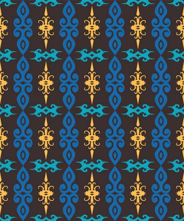 seamless pattern of borneo batik style. traditional Indonesian fabric motif. vector design inspiration. Creative textile pattern for fashion or cloth. culture motif of dayak Иллюстрация