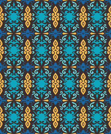 traditional seamless pattern of batik motif. Stylish fabric vector design. Creative textile background for fashion or cloth. Borneo style Иллюстрация