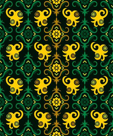 seamless pattern of dayak ethnic pattern. Traditional Indonesian fabric motif. Borneo style. vector design inspiration. Creative textile for fashion or cloth Vetores
