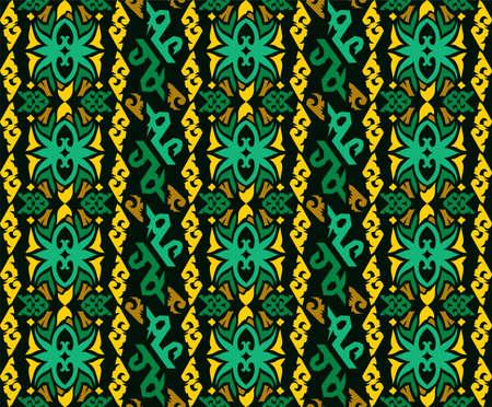 Seamless pattern of dayak batik. borneo motif style. luxury yellow color. vector design inspiration. Vetores