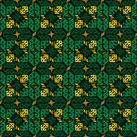 Seamless pattern of dayak batik. borneo motif style. luxury yellow color. vector design inspiration.