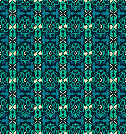 traditional seamless pattern of batik motif. Stylish fabric vector design. Creative textile background for fashion or cloth. Borneo style 向量圖像