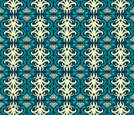 traditional seamless pattern of batik motif. Stylish fabric vector design. Creative textile background for fashion or cloth. Borneo style Vetores
