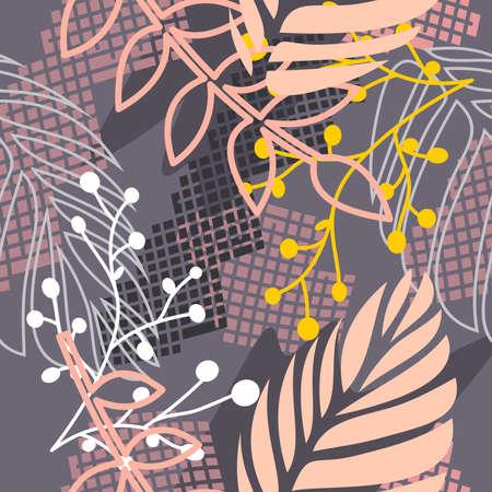 seamless pattern of hijab motif with foliage design. pastel color. vector design inspiration. hijab motif patterns. Stock Illustratie