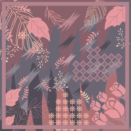Hijab design with floral abstract style. Silk scarf pattern