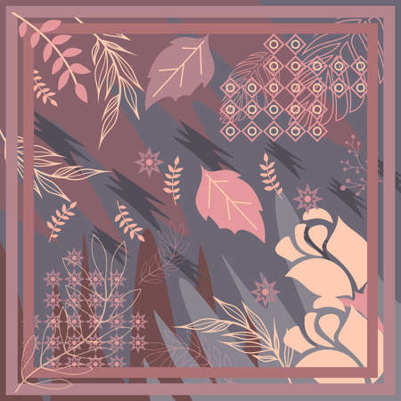 pattern of hijab motif design with foliage design. pastel color. Silk scarf pattern vector design inspiration