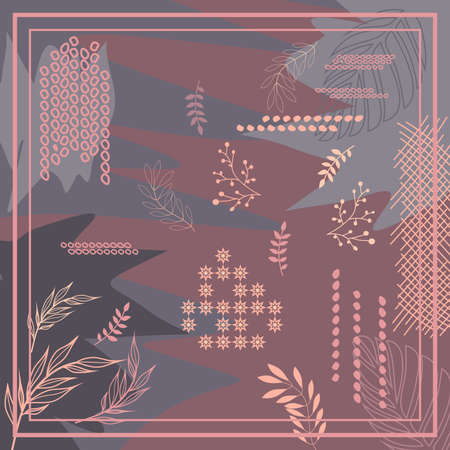 pattern of hijab motif design with foliage abstract design. pastel color. Silk scarf pattern vector design inspiration