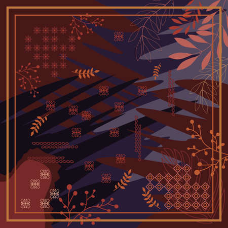 pattern of hijab motif design with foliage design. pastel color. Silk scarf pattern vector design inspiration