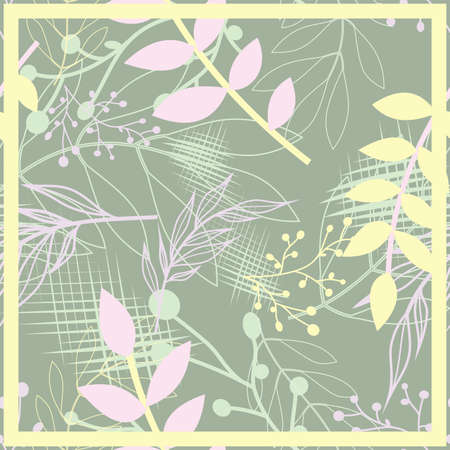 Hijab design with floral abstract style. Silk scarf pattern. vector design inspiration