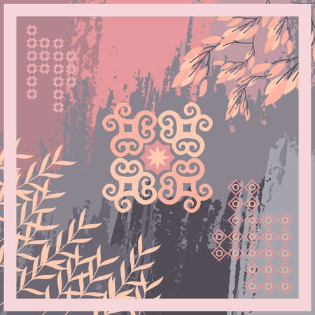 Pattern of hijab motif design with abstract foliage design. pastel color. Silk scarf pattern vector design inspiration 向量圖像