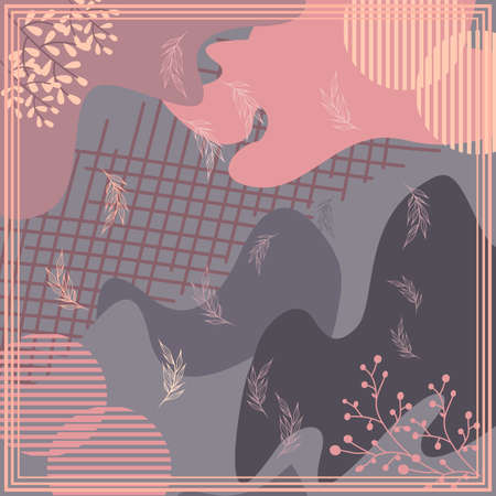 Pattern of hijab motif design with abstract foliage design. pastel color. Silk scarf pattern vector design inspiration Ilustração Vetorial