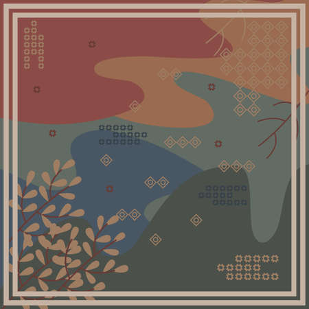 Pattern of hijab motif design with abstract foliage design. pastel color. Silk scarf pattern vector design inspiration