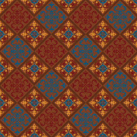 seamless pattern with ethnic borders. Vector Floral Illustration in asian textile. Ethnic line borders.