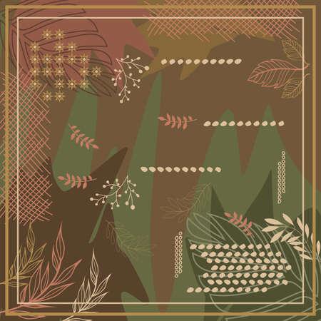 Hijab design with floral abstract style. Silk scarf pattern Ilustração Vetorial