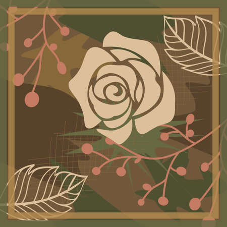 Hijab design with floral abstract style. Silk scraf pattern Ilustração