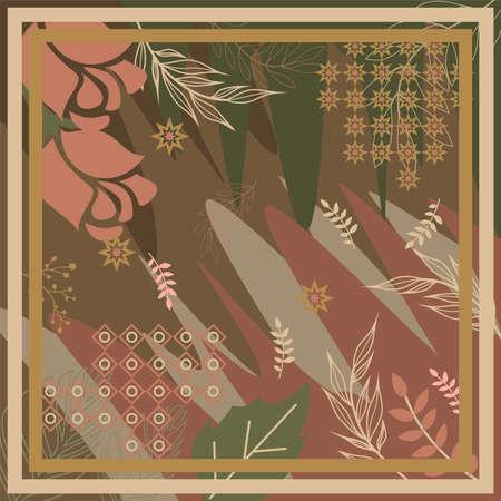 pattern of hijab motif design with foliage design. Silk scarf pattern vector design inspiration