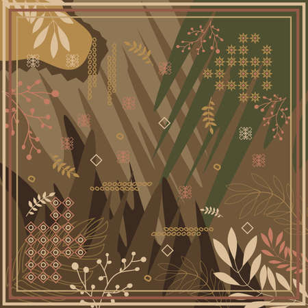 pattern of hijab motif design with foliage design. Silk scarf pattern vector design inspiration Ilustração Vetorial