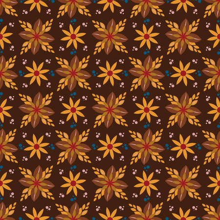 seamless pattern with ethnic borders flowers. Vector Floral Illustration in asian textile.