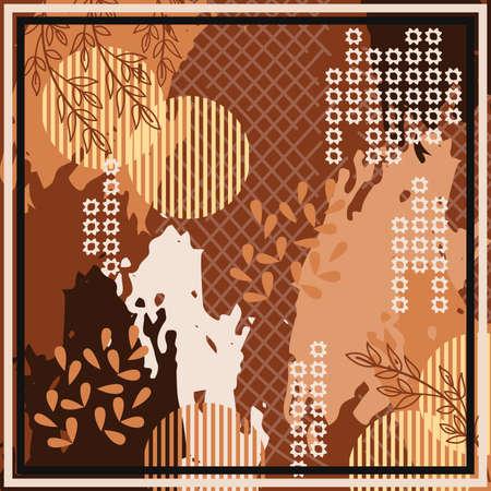 Hijab design with foliage abstract style. Silk scarf pattern Ilustração Vetorial