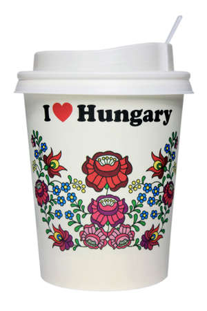 objec: Coffee paper mug isolated on white with cap & I love Hungary text