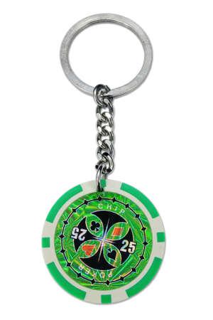 poker chip: Poker chip key ring isolated on white