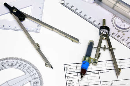 technical department: Technical tracing paper and rulers, calipers with ink Stock Photo