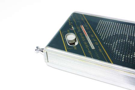 fm: Old pocket radio isolated on white background Stock Photo