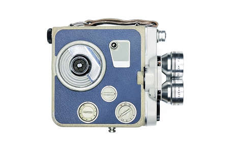 cine: Vintage movie camera front isolated on white background