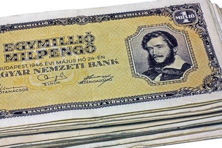 MILLION: Old Hungarian one million pengo isolated on white background Stock Photo