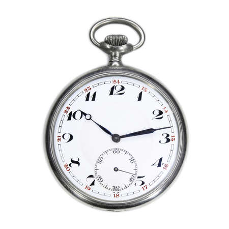 Old Swiss Pocket Watch Isolated On White Background Photo
