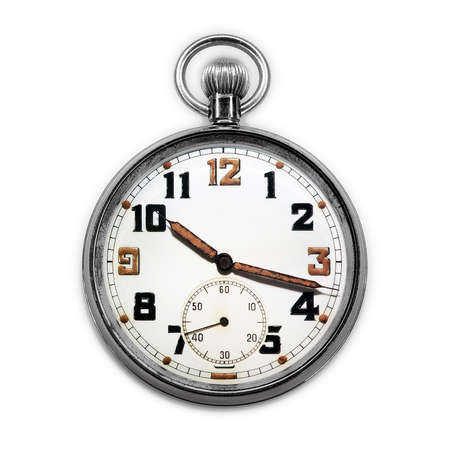 seconds: Vintage swiss pocket watch isolated on white background