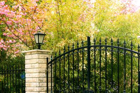 ferreteria: Pacífica puerta de hierro negro con plantas de colores y la lámpara