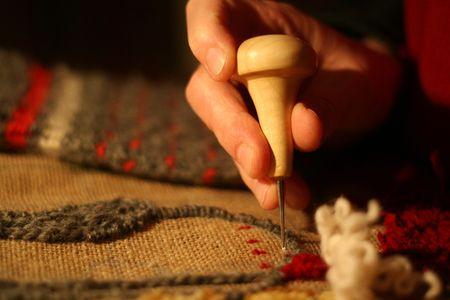 Rug hooking, a traditional maritime craft. Reklamní fotografie