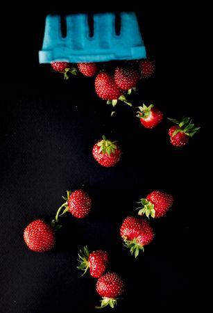 Strawberries falling, on black.