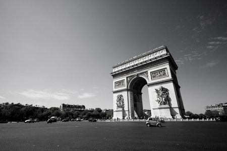 Wide angle view of the Arc de Triomphe, in Paris, France.