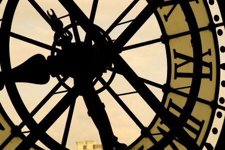 Looking out of a massive clock in the Musee d'Orsay, Paris.