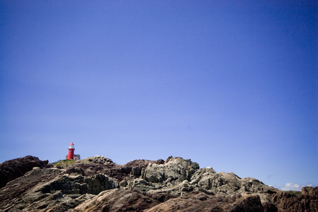 saturated: Saturated photograph of the lighthouse at Ferryland, Newfoundland, Canada. Stock Photo