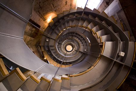 Looking up a spiral staircase in Glasgow