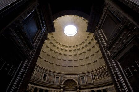 Looking inside the Pantheon in Rome.