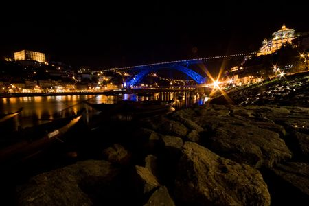 oporto: Looking out at Oporto at night from Gaia.