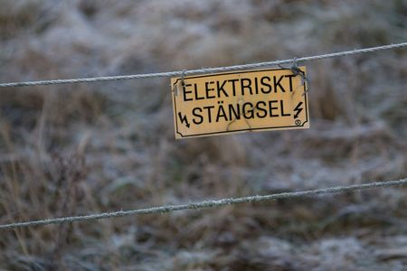 utilitarian: A bleak Swedish electric fence in winter. Stock Photo