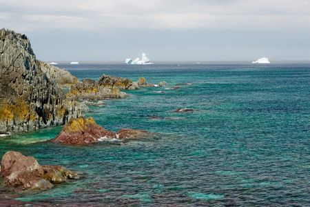 Eerily green sea in the foreground, white icebergs floating in the distance, fresh from Greenland.